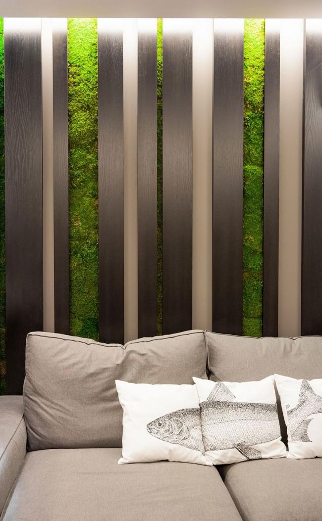 Вертикальное озеленение стен, выполненное в специальных нишах