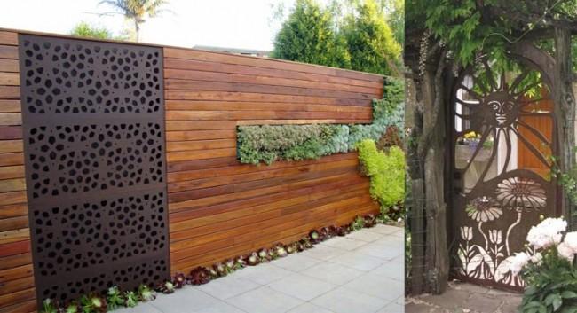 Деревянные заборы и ограждения для дома. Из плюсов древесины как материала для ограды участка - хорошее звукопоглощение, но если вам нравятся металлические заборы, то вы можете выбрать комбинированный вариант