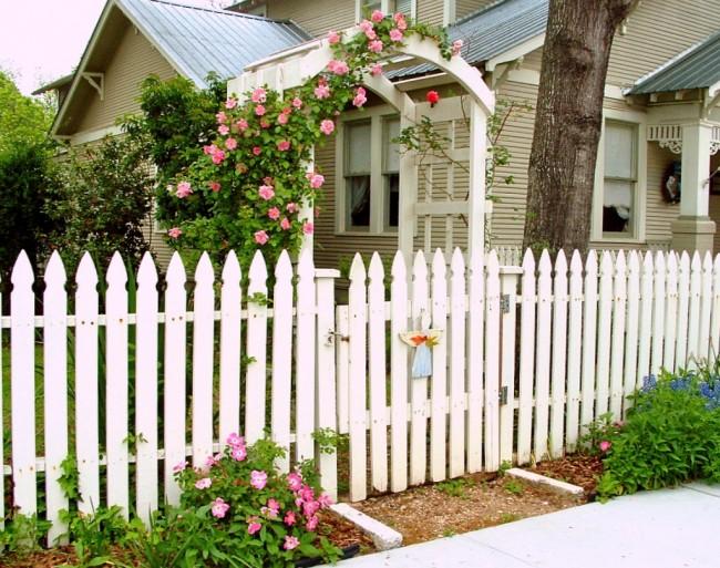 Деревянные заборы и ограждения для дома. Самый традиционный вид деревянного забора: аккуратный крашеный штакетник