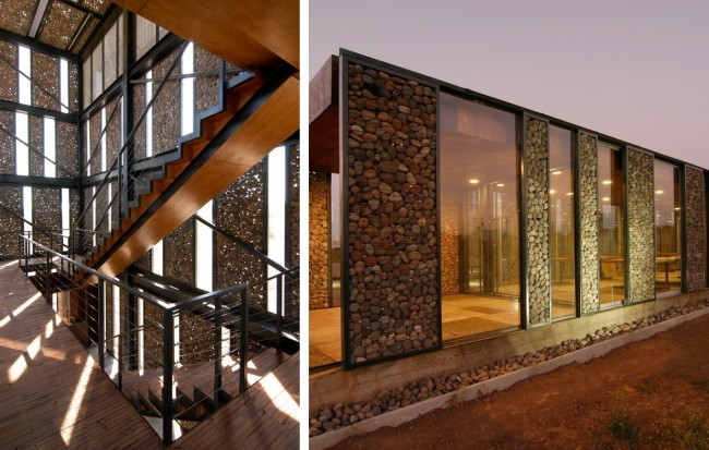 Здание со стенами из стекла и габионов в Метрополитен-парке, Сантьяго, Чили