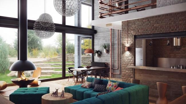 Мягкая мебель для зала. Композиция мебели в гостиной может выстраиваться вокруг камина, но при этом сама быть достаточно яркой и притягивающей взгляд за счет глубоких насыщенных оттенков