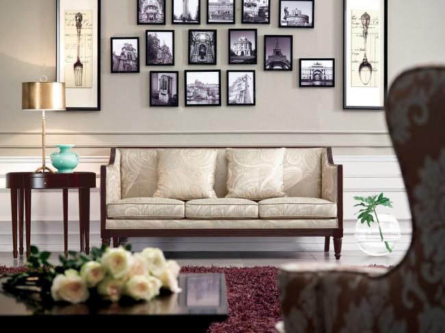 Мягкая мебель для зала. Интерьер в английском стиле подразумевает чаще всего подбор мебели, обитой тканью с растительным рисунком, контрастным или сливающимся с фоном