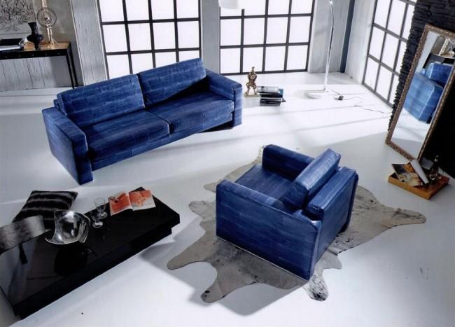 Мягкая мебель для зала. Мебель, обитую рыбьей кожей, легко узнать: такая кожа напоминает змеиную, и обивка состоит из отдельных неровных полос. Цвет ее может быть любым, даже самым ярким