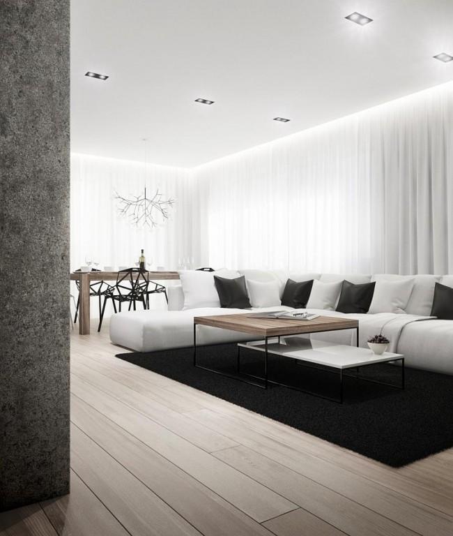Мягкая мебель для зала. Нейтральный стиль не будет выглядеть скучно, если нет недостатка в естественном освещении