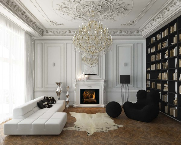 Мягкая мебель для зала. Черно-белая мебель: футуристичный диван и легендарное кресло от Гаэтано Пеше