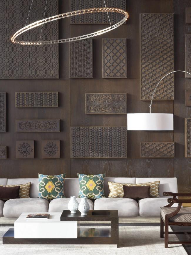 Современная мода в составлении целостного интерьера гостиной предполагает контрасты фактур и неожиданные сочетания