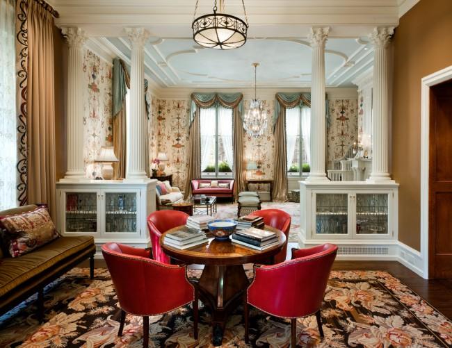 Ковры в интерьере гостиной. Флоральный орнамент ковра - самый подходящий для гостиной в викторианском стиле