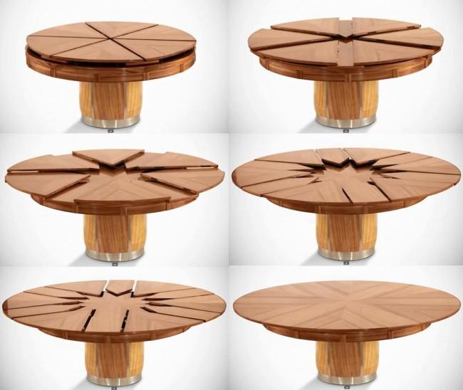 Обеденные столы. Круглый раздвижной стол при необходимости увеличивает площадь столешницы вдвое, с минимальным усилием и очень плавным ходом фурнитуры