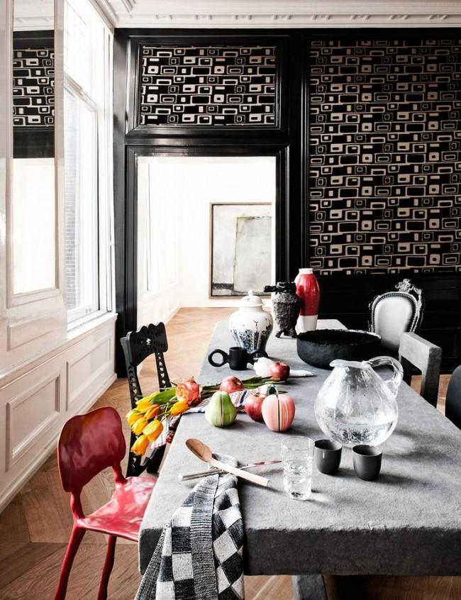 Обеденные столы. Нестандартным и очень декоративным решением будет обеденный стол из камня, с обработкой, оставляющей ощущение шероховатости