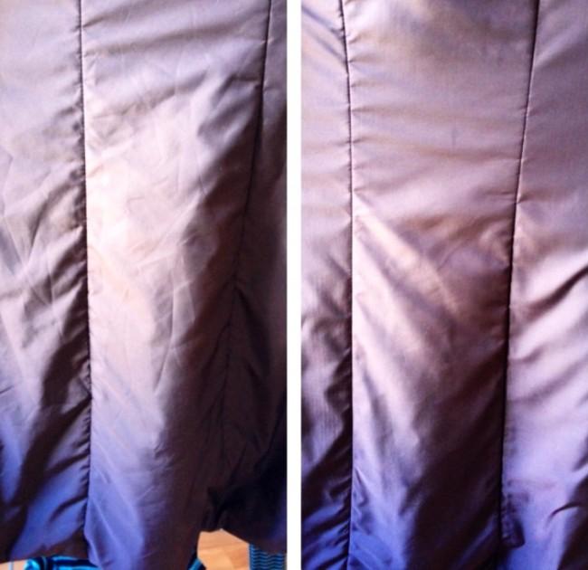 """Отпариватель для одежды. Измятый пуховик невозможно отгладить утюгом, а стирать его ради разравнивания ткани - непозволительная трата времени. Отпариватель идеален как раз для таких случаев. На фото: куртка-""""пуховик"""" до и после отпаривания"""