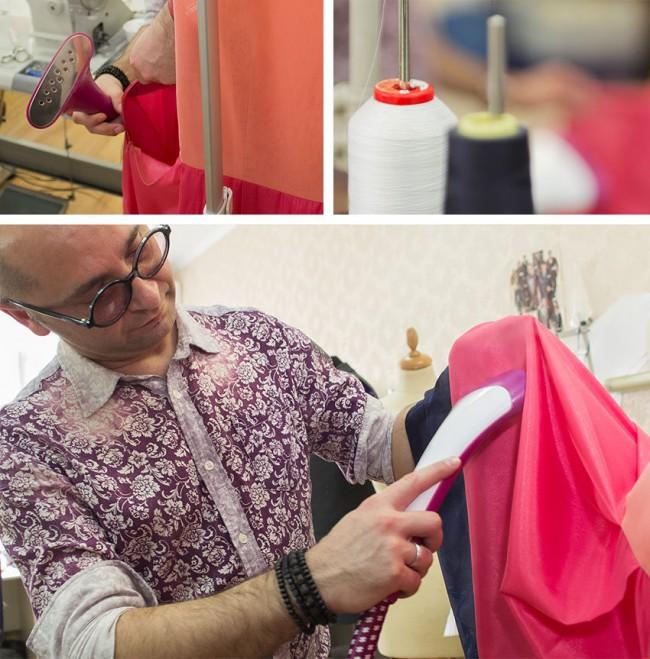 Отпариватель для одежды. В швейных ателье часто пользуются ручными отпаривателями после манипуляций с готовой вещью. Существуют также стационарные большие отпариватели, но они предназначены больше для текстильных производств