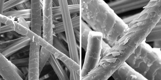 Отпариватель для одежды. Сравнение воздействия на ткань глажки и отпаривания. Фото 1. Шерстяная ткань после проглаживания металлическим утюгом в течение 1 минуты с соответствующими типу ткани настройками. Фото с электронного микроскопа, слева - 500-кратное увеличение, справа - х1000