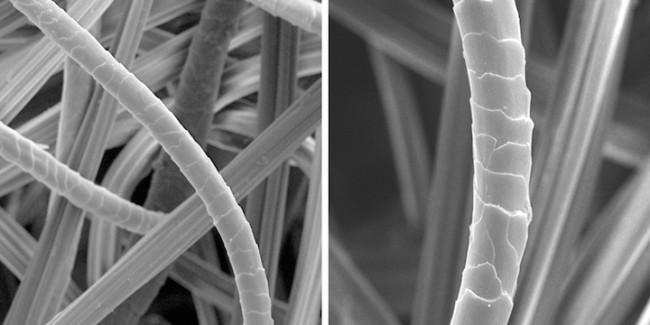 Отпариватель для одежды. Фото 2. Точно такая же шерстяная ткань после отпаривания в течение 1 минуты. Фото с электронного микроскопа, слева - с 500-кратным увеличением, справа - х1000