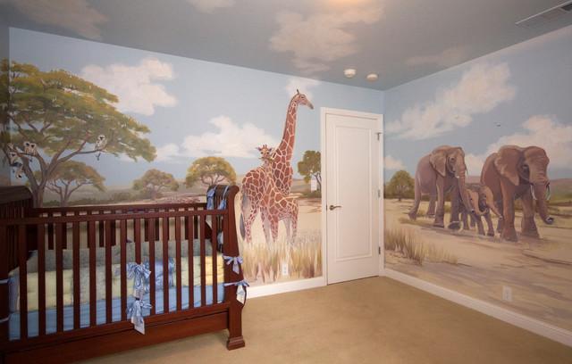 Стены с изображением саванны в детской комнате