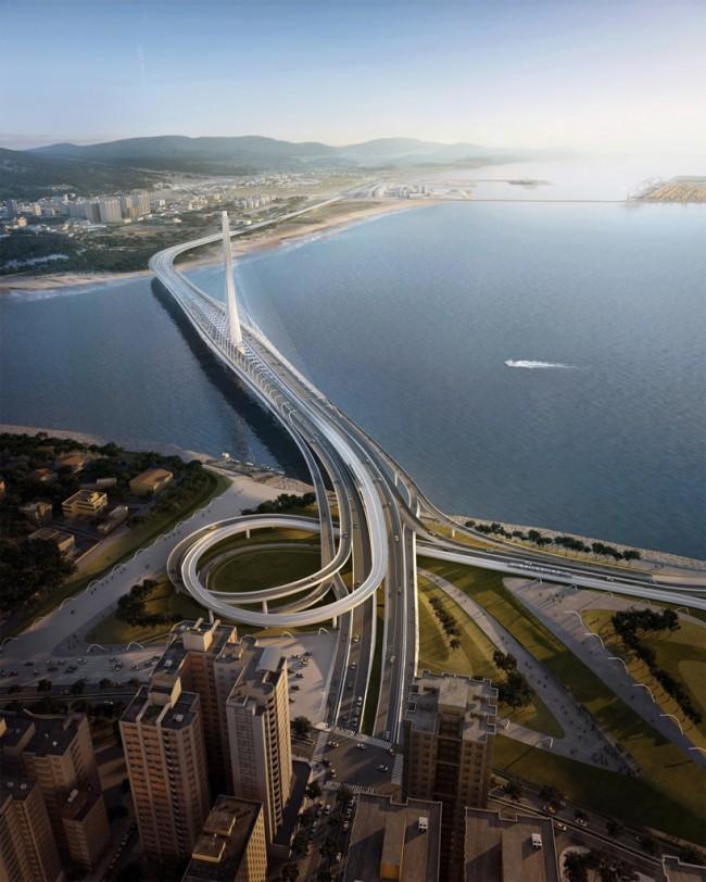 Дизайн моста компании Zaha Hadid Architects через самую длинную реку в Тайбэе