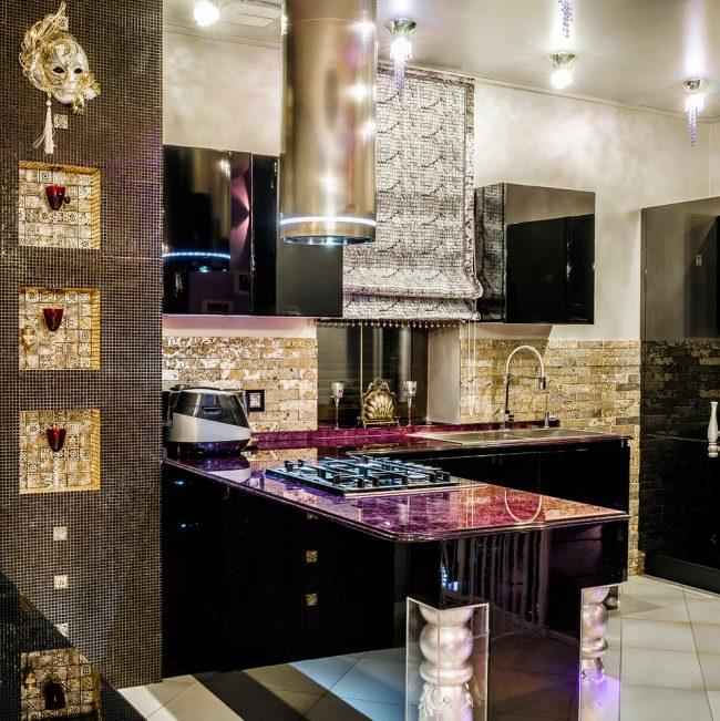 Шикарный интерьер кухни в стиле арт-деко
