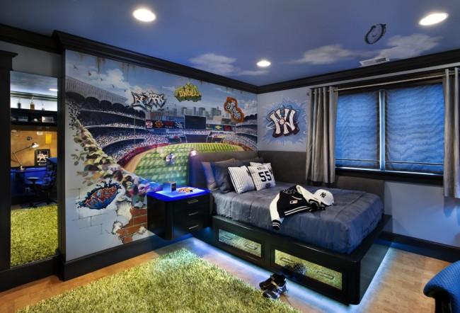 Яркий травянистый ковер в комнате креативного подростка