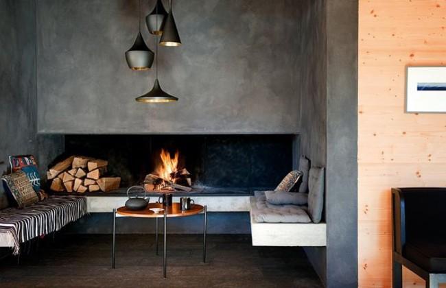 Открытый камин легко придаст любому современному интерьеру стильный и завершенный вид
