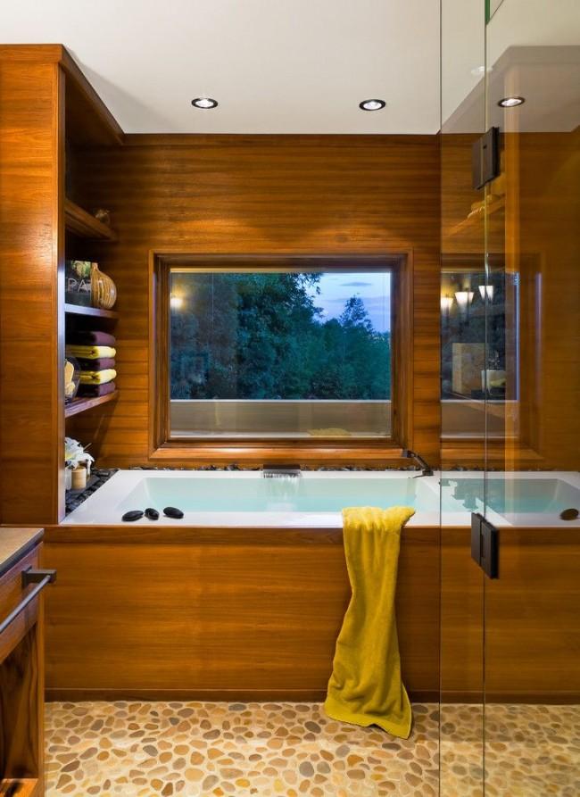 Облицовка ванны из натурального дерева