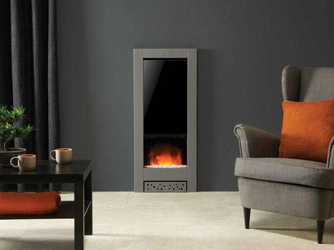В минималистичную гостиную электрический камин привнесет оптимистичные и согревающие нотки