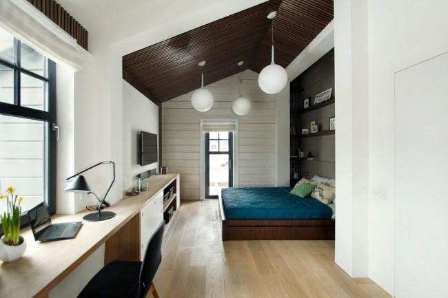 Спальня в современном стиле с рабочей зоной