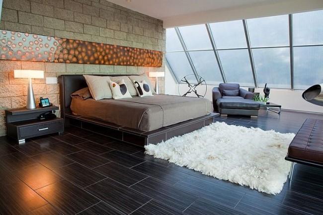 Современный дизайн спальной комнаты подразумевает смелость и оригинальность