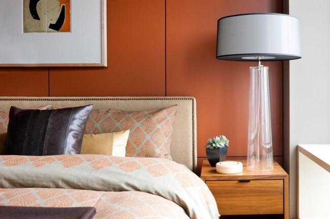 Спальня в стиле модернизм с панелями МДФ