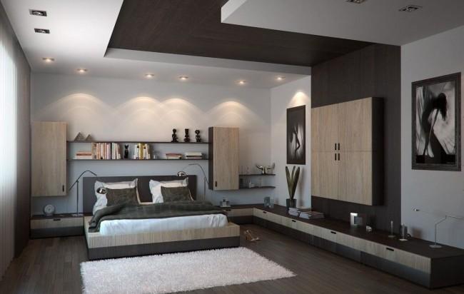 Элегантная комбинация гипсокартона и дерева на потолке
