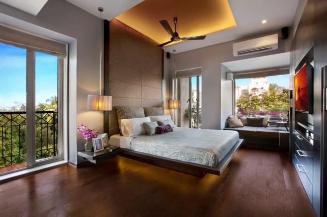 Гипсокартон - действительно универсальный материал для потолка в спальне