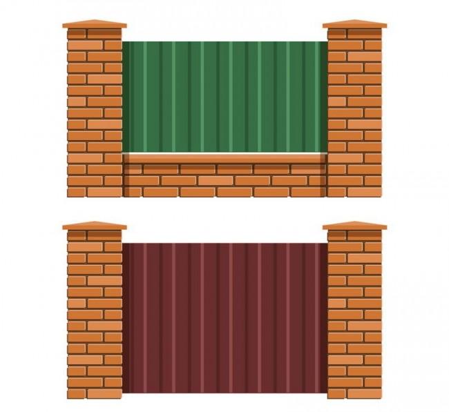 Два способа установки ограждения: с фундаментом и без него