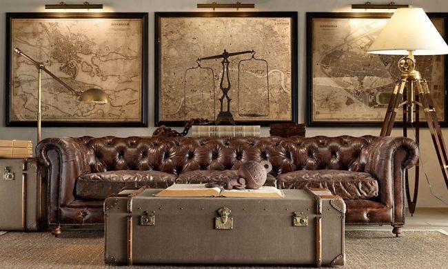 Классический интерьер гостиной с журнальным столиком из чемодана
