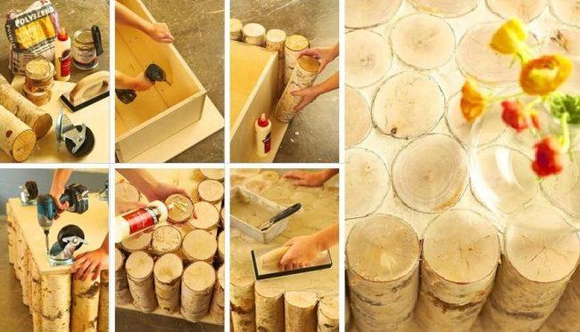 Процесс изготовления журнального столика из поленьев