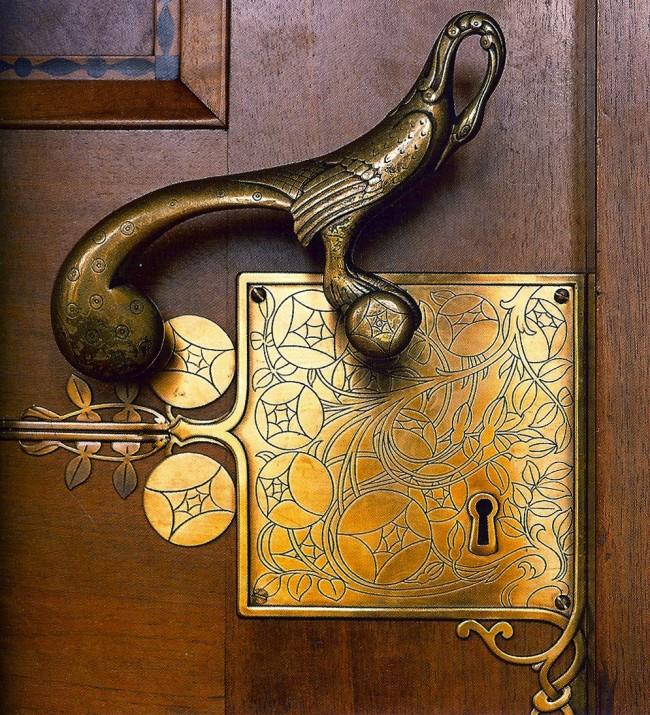 Дверные ручки для входных дверей. Роскошная ручка в стиле ар-нуво