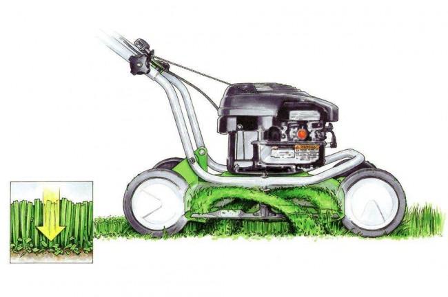 Электрическая газонокосилка. Мульчирование - очень полезная функция газонокосилки. Мульча препятствует излишнему испарению воды из грунта, удобряет, и, наконец, не дает прорастать сорнякам, затеняя их