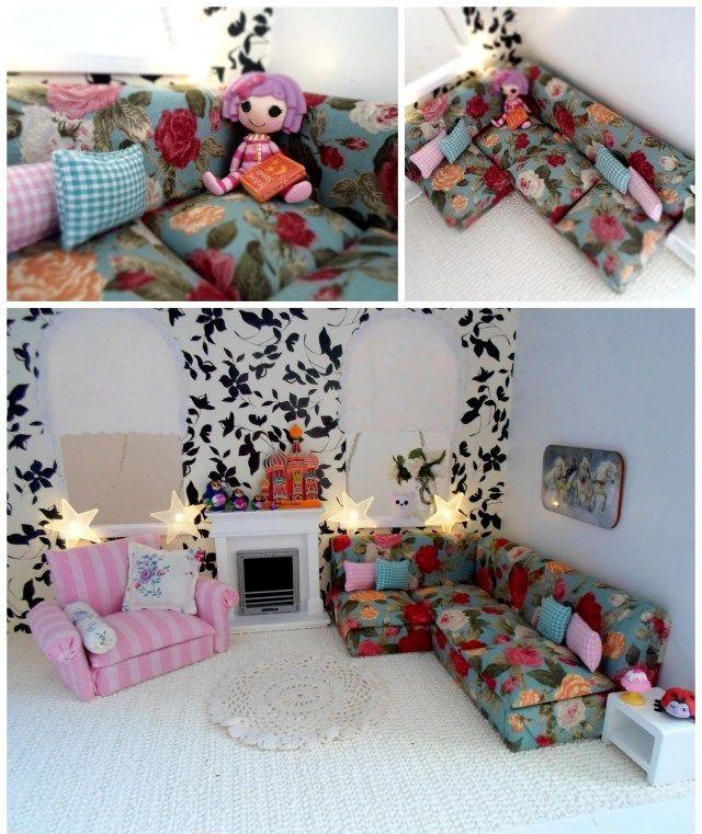 Мебель для кукол своими руками. Очаровательный диван для кукол, обитый тканью с викторианскими розами