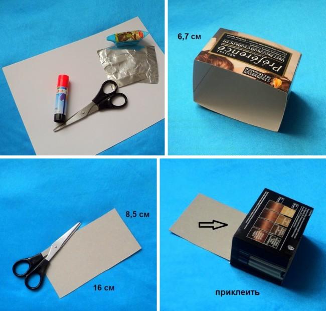 Мебель для кукол своими руками. Пошаговое руководство: делаем туалетный столик для куклы из картонной коробки. Шаг 1-4