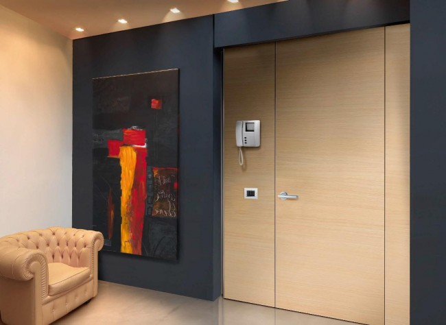 Лучшие входные двери в частный дом. Металлическая дверь с непрозрачными вертикальными фрамугами из того же материала, что и основное полотно двери. Внутри дверных коробок прокладывается проводка домофона, видеоглазка и прочего