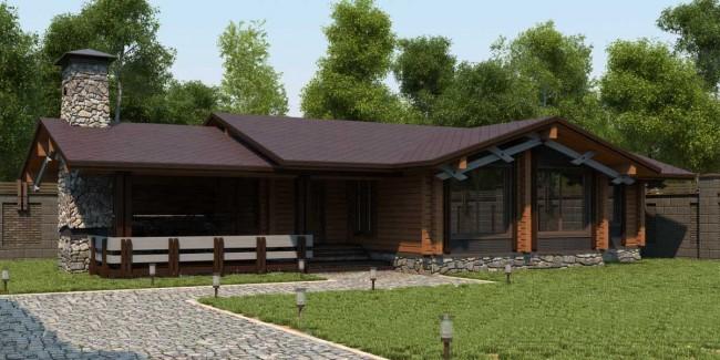 В данном проекте под одной крышей умещается все необходимое для отдыха в бане