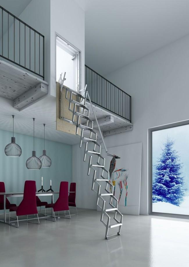 Красивая и удобная лестница для выхода на чердак