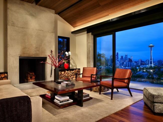 Стильный интерьер зала с панораманым окном