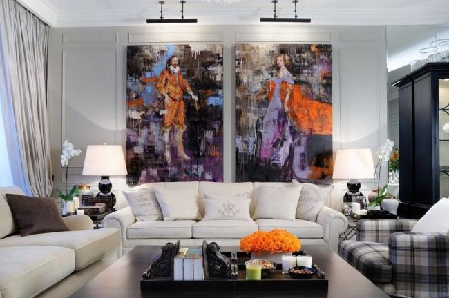 Интерьер зала в классическом стиле