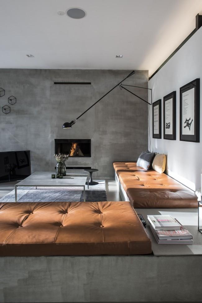 Стильный интерьер зала в стиле лофт