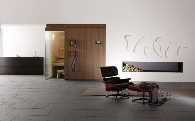 Инфракрасная сауна в интерьере современного стиля