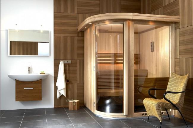 Инфракрасная сауна в ванной комнате стиля модерн