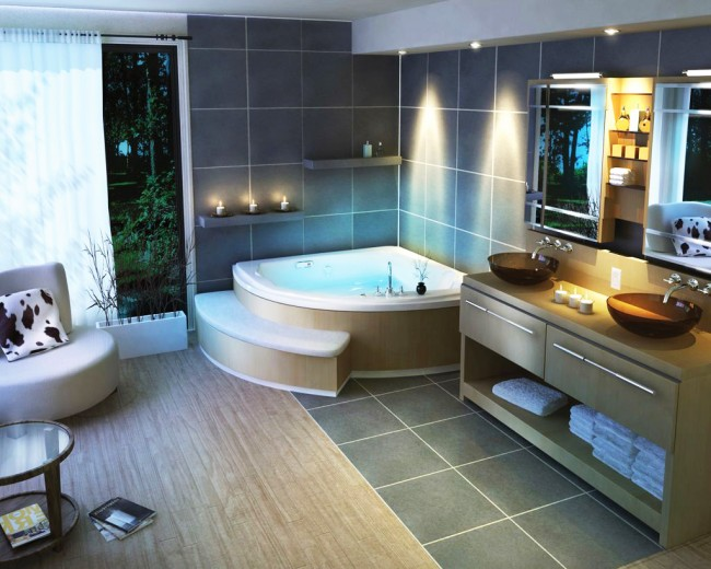 Разнообразие форм и размеров джакузи позволяет их размещать почти в любой квартире
