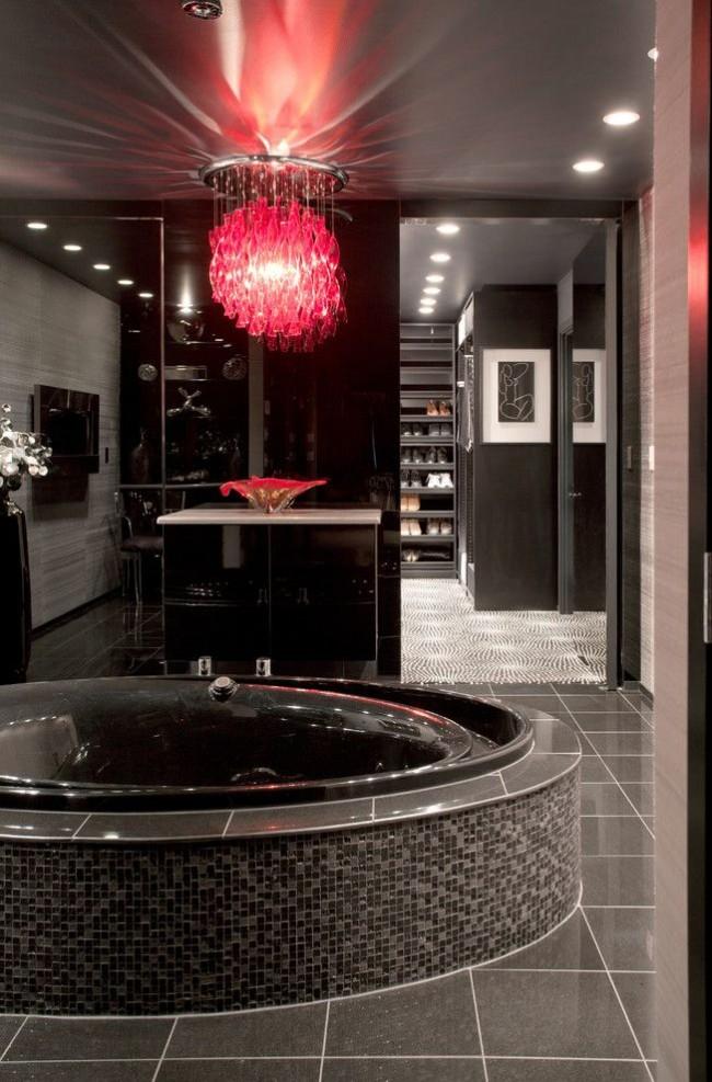 Ванная комната в черном цвете с джакузи
