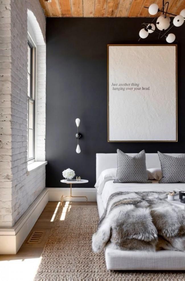 Спальня в стиле лофт со стенами, покрашенными водоэмульсионной краской