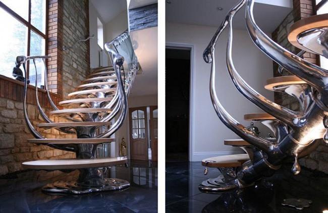 Великолепная лестница с эффектом капающего металла