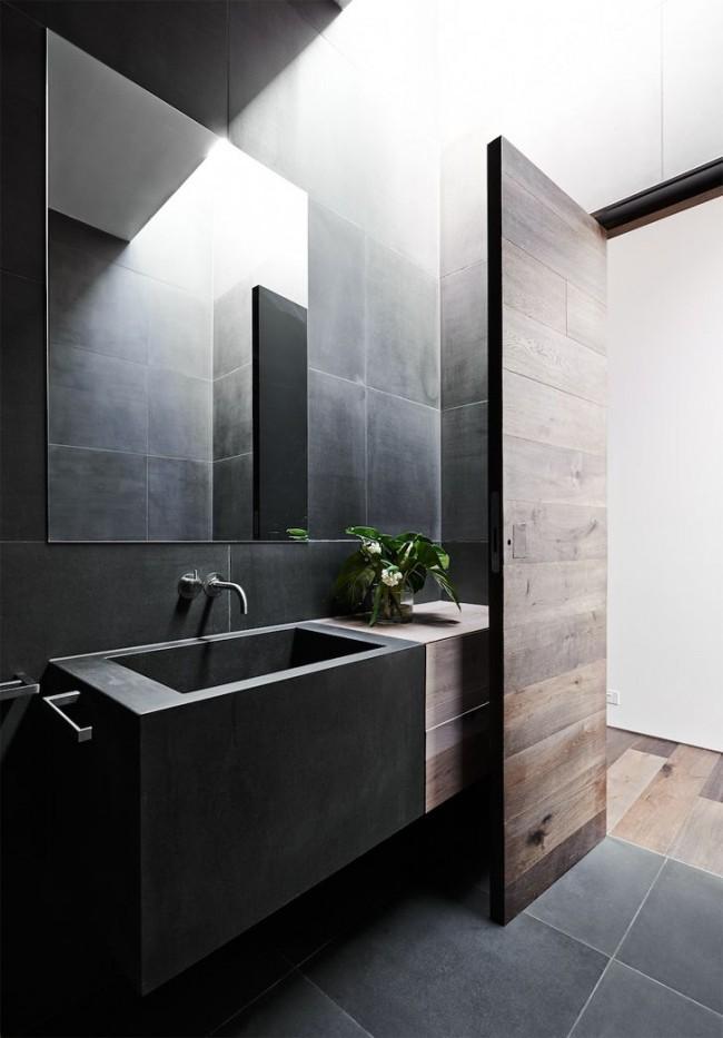 Стильный и лаконичный дизайн ванной комнаты со шпонированной дверью