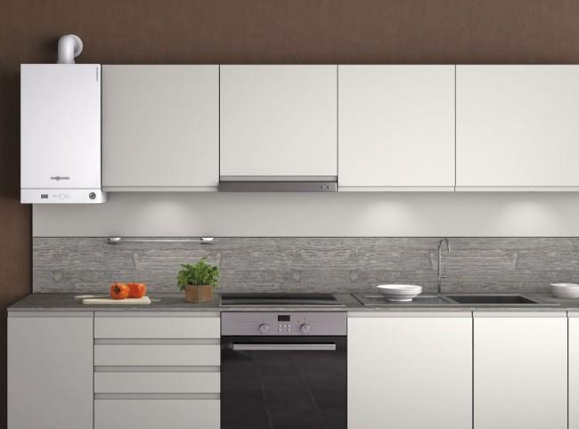 Стильный котел визуально дополнит кухонную мебель